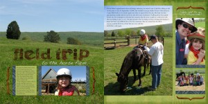 Field Trip to the Horse Farm, double page spread