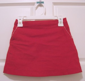 skirt front with bias-piped pockets
